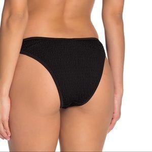 Kendall & Kylie Black Smocked Cheeky Bikini Bottom